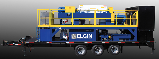 Elgin's mobile centrifuge system capable of processing up to 500 gpm fluid capacity.